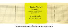 Accesoires petit componium Lot de 10 cartes vierges pour petit componium Chromatique de 33 notes