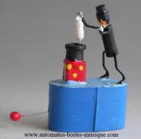 """Automates de magie, automates truqués Automate de magie miniaturisé, automate truqué miniaturisé : """"Le magicien au lapin"""""""