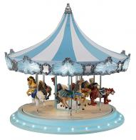 Boîtes à musique de Noël Grand carrousel musical miniature Mr Christmas : carrousel musical Mr Christmas blanc et bleu